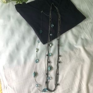 2 long necklaces- black and teal